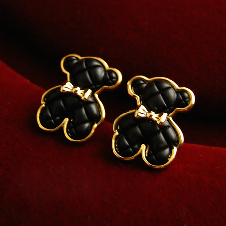 small jewelry Black Bear earrings All-match Teddy Bear earrings Lovely wild bow earrings(China (Mainland))