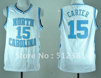 Free Shipping!!! #15 Vince Carter North Carolina Tar Heels white College Basketball Jersey