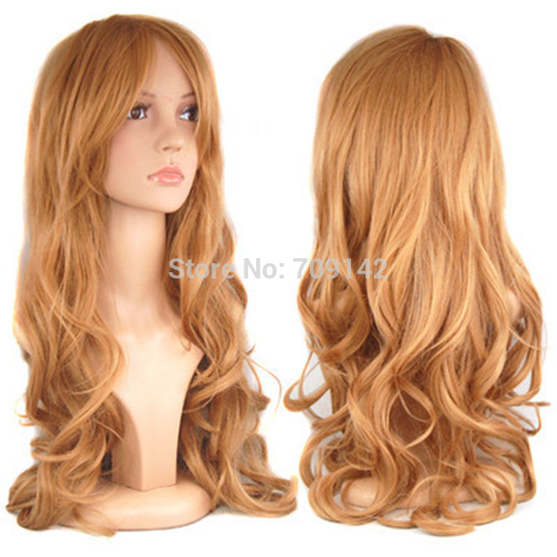 Blonde Ladies Long Wavy Fancy Dress Hair Full Wig Synthetic fibre queen brazilian made hair wigs(China (Mainland))