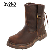 Z . suo spring new arrival british style boots denim boots martin boots tube boots brown horse(China (Mainland))