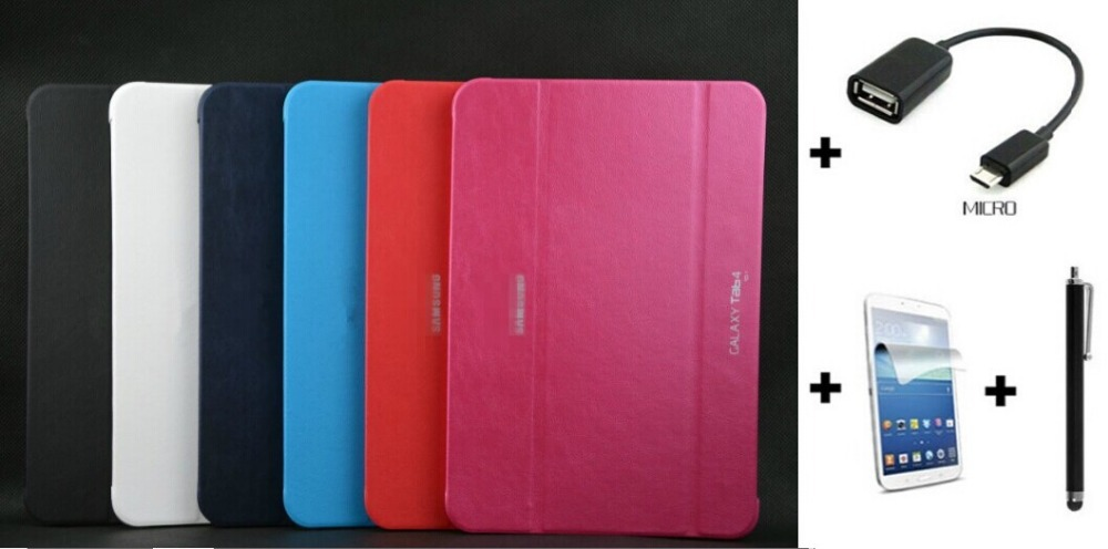 4 in 1, Business PU Leather Smart Cover Case For Samsung Galaxy Tab4 10.1 T530 Case+Film +Stylus +OTG Cable(China (Mainland))