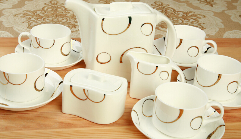 Coffee set fashion bone china coffee sets high quality coffee cup and saucer set 15 pieces