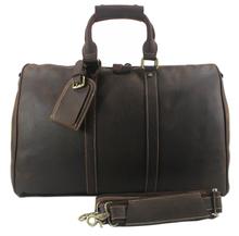 Vintage Crazy Horse Genuine Leather Travel bag Men Duffel Bag Luggage Travel Bag Large Men Leather Duffle Bag Weekend Tote Big(China (Mainland))