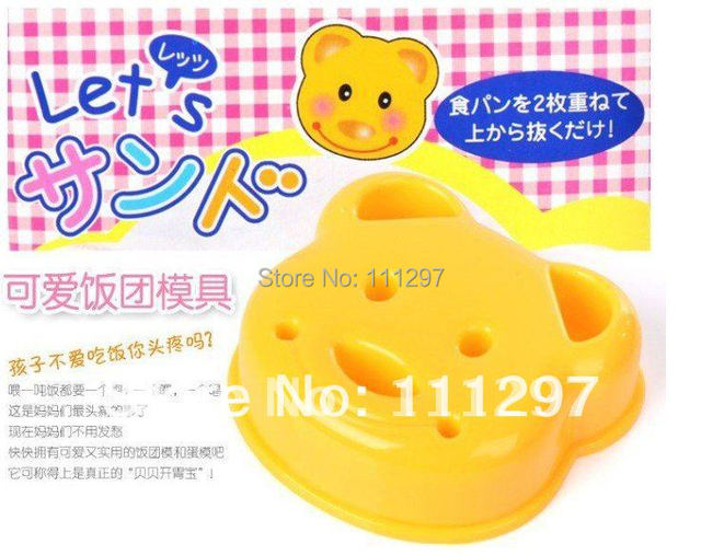 Wholesale 300pcs / lot plastic bread toast cutter sandwich cutter picnic lunch mold maker in bear design Free shipping