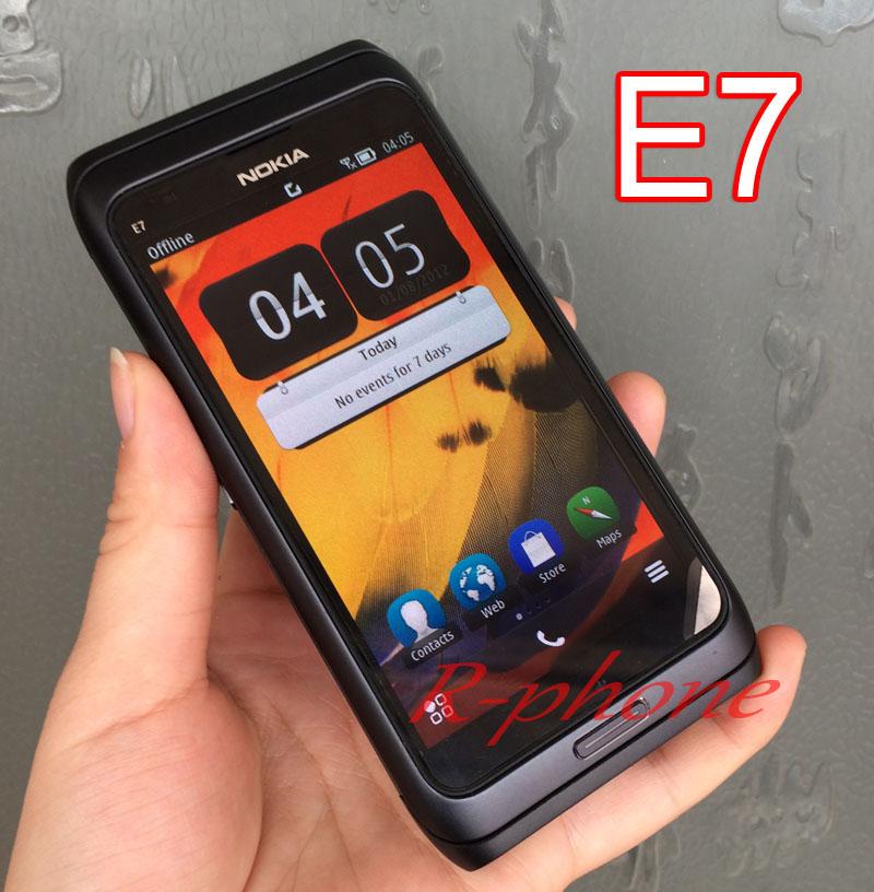 Nokia E7 Original Unlocked GSM 3G Mobile Phone WIFI GPS 8MP QWERTY English Arabic Russian keyboard Refurbished(China (Mainland))