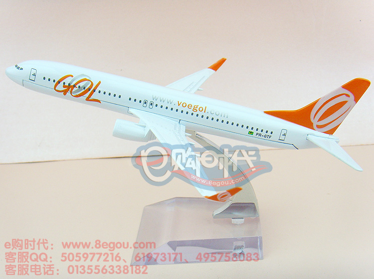 16cm Simulation airplane model new arrival Brazil B737-800 GOL aircraft model Metal air airlines plane model Christmas gift(China (Mainland))
