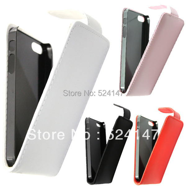 Mobile Phone Cases 4 Colors Slim Premium Vertical Flip PU Leather Pouch Cover Case for iPhone 5(China (Mainland))