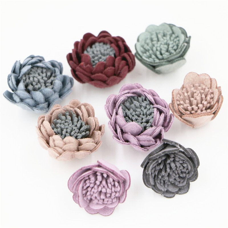 New Arrival 30PCS Assorted Color Wool Felt DIY jewelry Flower Crafts handmade Girls Hair Elastic Band Headband Decor(China (Mainland))