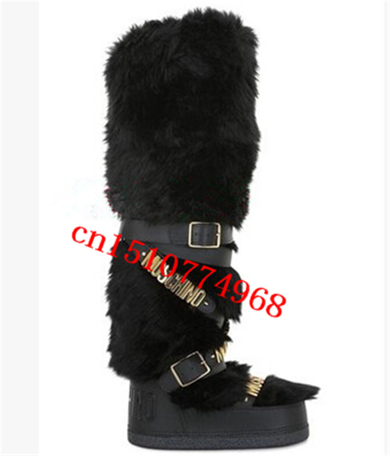 2015 autumn and winter fashion rabbit fur genuine leather snow boots women cross straps mid-calf boots(China (Mainland))