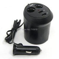 Tirol T16313b New 12 V 2 Way with 2 USB Cup Holder Auto Cigarette Splitter Lighter Power Adapter 5V/2A Car Charger