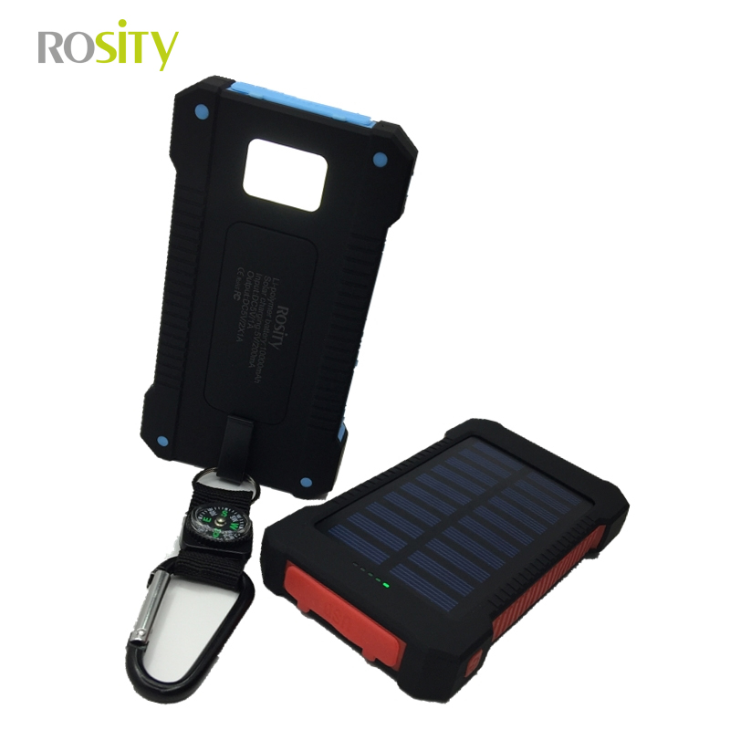 ROSITY New Portable Waterproof Solar Power Bank 10000mah Dual-USB Solar Battery Charger powerbank for All Phone(China (Mainland))