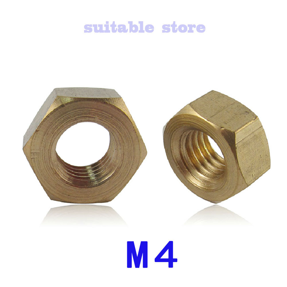 (100PCS) M4 Hexagonal nut copper nut Solid pieces of hardware 4MM(China (Mainland))