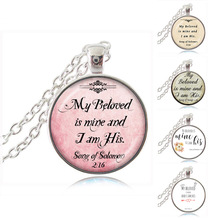 Buy Christian Pendant Necklace Beloved Mine am Scripture Quote Song Solomon 2:16 Bible Jewelry Wedding Love Gifts for $11.99 in AliExpress store