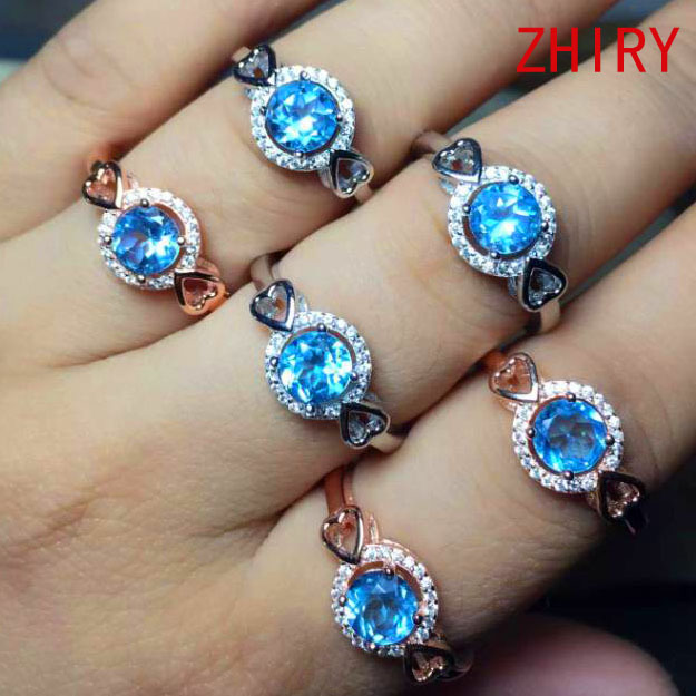 Real 925 sterling silver ring 100% natural gem stone Topaz Ocean blue rings gold plated women Fine jewelry Free Shipping