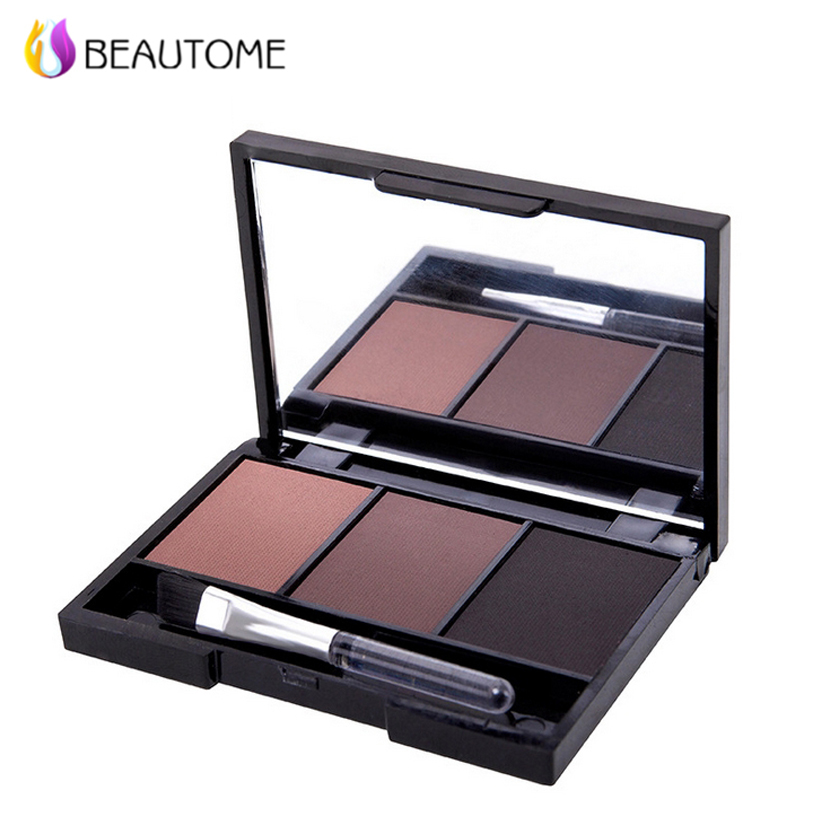 Beautome Makeup 3 Color Eyebrow Powder with Brush & Mirror Waterproof Long-lasting Eye Brow Powder Shadow Palette Cosmetic(China (Mainland))