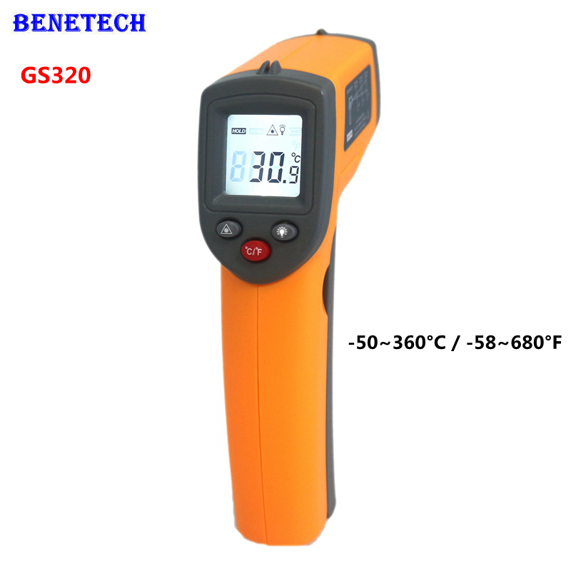 BENETECH GS320 Digital IR Infrared Thermometer Non-Contact Laser LCD Temperature Meter -50~360C -58~680F Gun Point(China (Mainland))