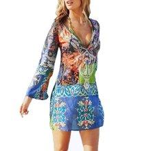 Buy Beach Women Dress Sexy Deep V Long Sleeve Chiffon Dress Floral Printed Causal Mini Summer Dress Vestidos DH for $6.56 in AliExpress store