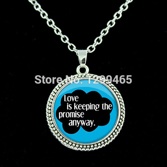 Chakra Art New Energy Healing necklace The Fault in Our Stars Necklace,John Blue Book Quote Charm pendant jewelry N 002(China (Mainland))