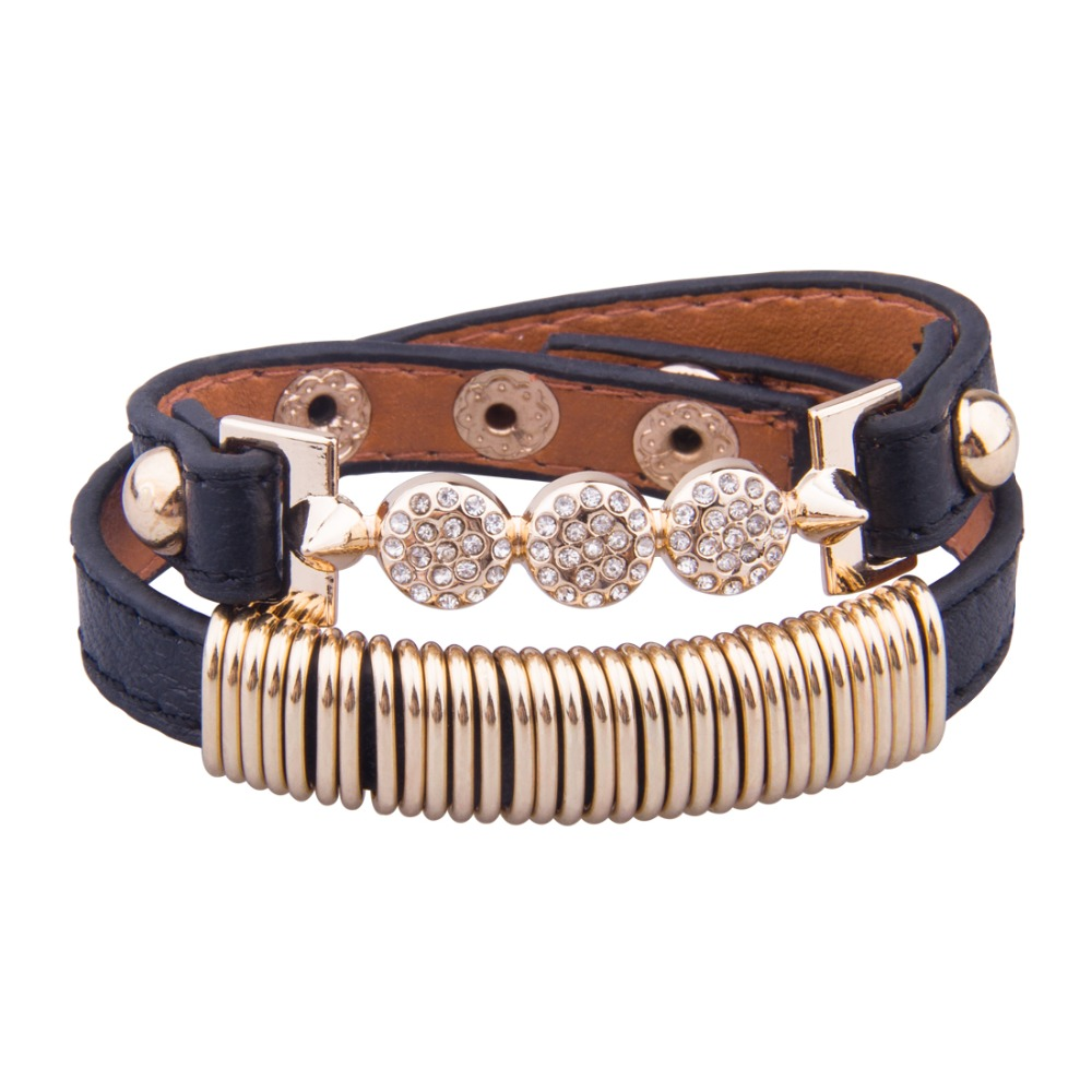 Free shipping Genuine Leather 18k Gold Plated Bracelet With Crystal Fashion Jewelry for Women and Men Best Friend Gift Birthday(China (Mainland))