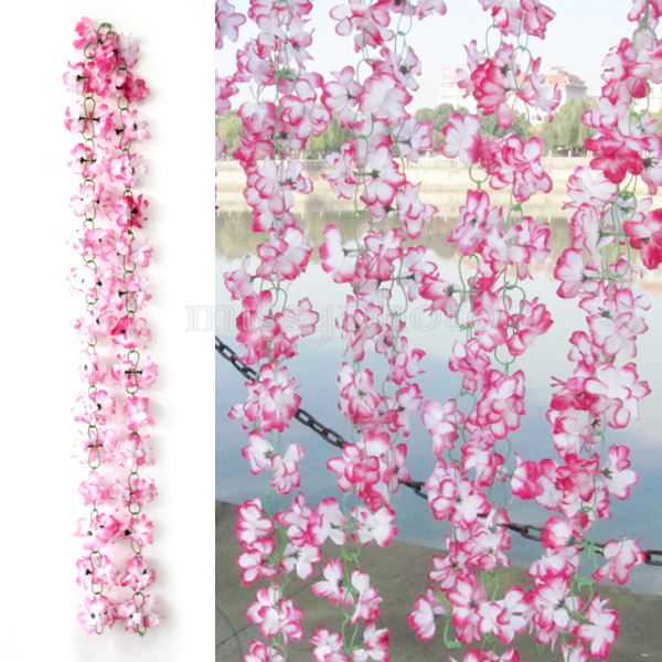 Cute 6.56ft Artificial Azaleas Flower Vine Plants Wedding Floral Decoration Pink(China (Mainland))