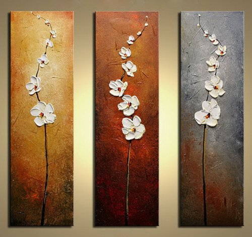hand painted flowers Dancing Petals Modern Canvas knife painting Floral Oil Painting Wall Art pictures for living room 3 pieces(China (Mainland))