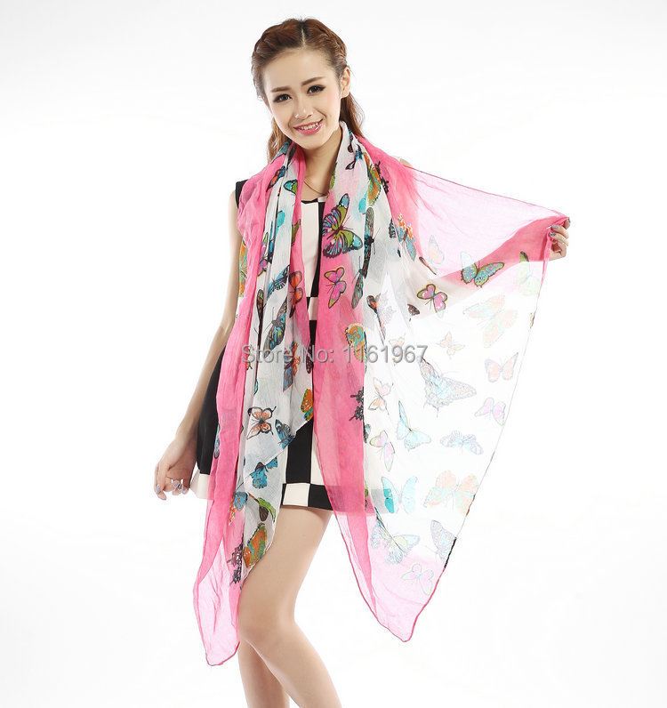 2014 autumn hot new butterfly pattern voile scarves, women's clothing, accessories, printing shawl 1.8 * 90CM long cotton scarf(China (Mainland))