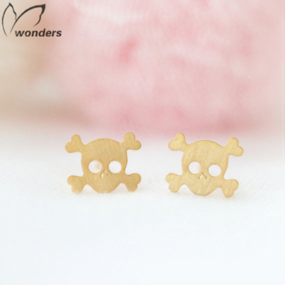 30pairs/lot Wholesale Gold Silver Plated Punk Cross Bone And Skull Stud Earrings For Women Halloween Gift Idea Wedding Jewelry<br><br>Aliexpress