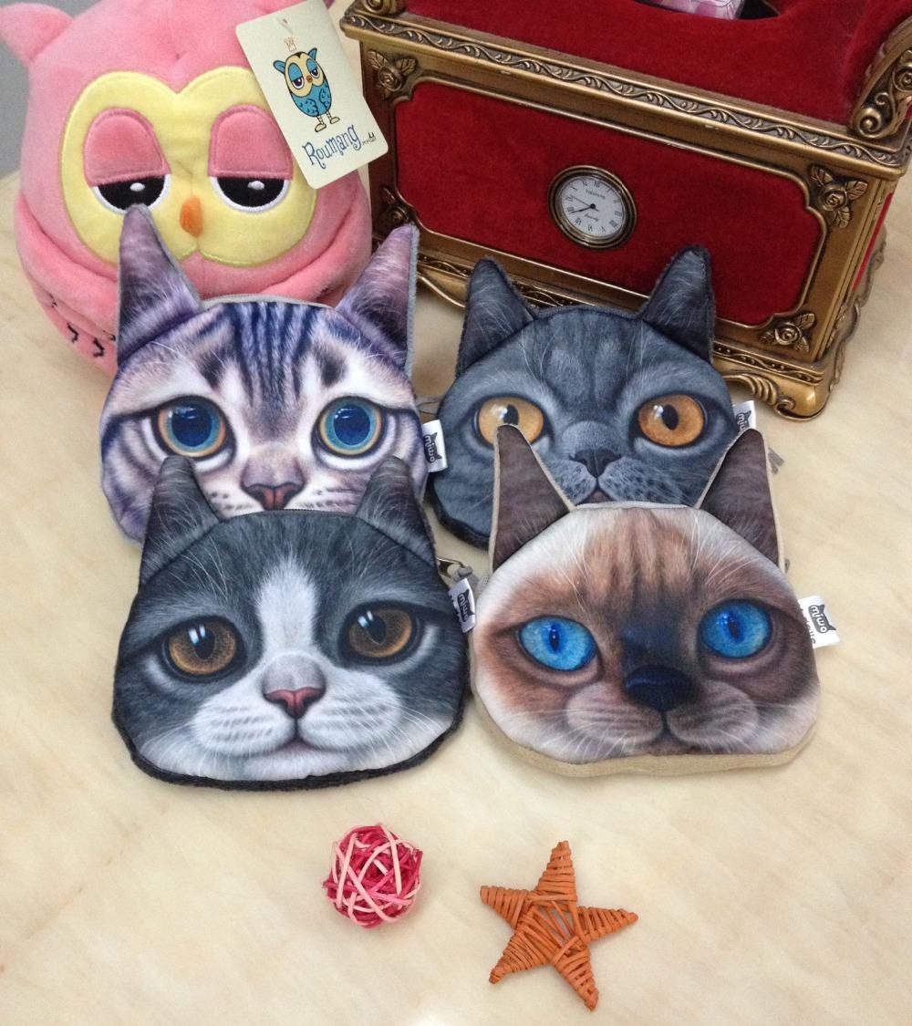 20 шт. 4 стили 3D печать кошки лицо монета кошельки сумочка котенок портмоне кошельки монета мешок подарки женщины нулевой бумажник