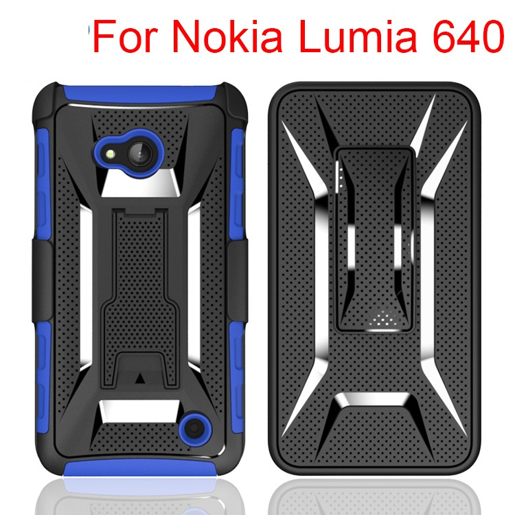 500pcs/lot Dual Layer Heavy Duty Rugged Armor Belt Clip Defender Holster Case For Nokia Lumia 640 Cover Skin Shockproof