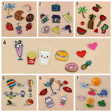 7 Sets, Assorted Popcorn Drinks Hamburger Raionbow Fruit Embroidered Iron On cartoon Patches Fashion Appliques for kids(China (Mainland))