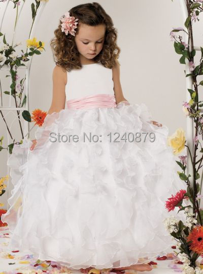 2014 first communion dresses white scoop ball gown ruffle dress for party child flower girls RTT-0451(China (Mainland))
