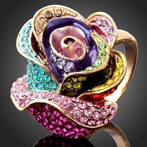 Wholesale Imitation Diamond 18 K Golden Plated Party Gifts Elegant Crystal Rose Flower Engagement Rings For Women Free Shipping