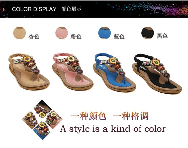 Big Size 35-42 Rhinestone Flip Flops Women Sandals Bohemian Beading Ladies Flat Sandals Shoes Slippers Tong Femme Sandales NX86