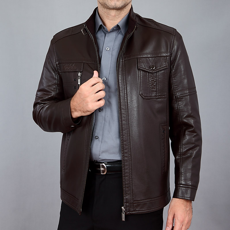 Winter Men's Leather Jacket 2015 Male Slim Stand Collar Sheep Genuine Leather Jacket Motorcycle Leather Jacket Men's Clothing