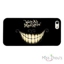 We're All Mad Here Cheshire Cat back skins mobile cellphone cases for iphone 4/4s 5/5s 5c SE 6/6s plus ipod touch 4/5/6
