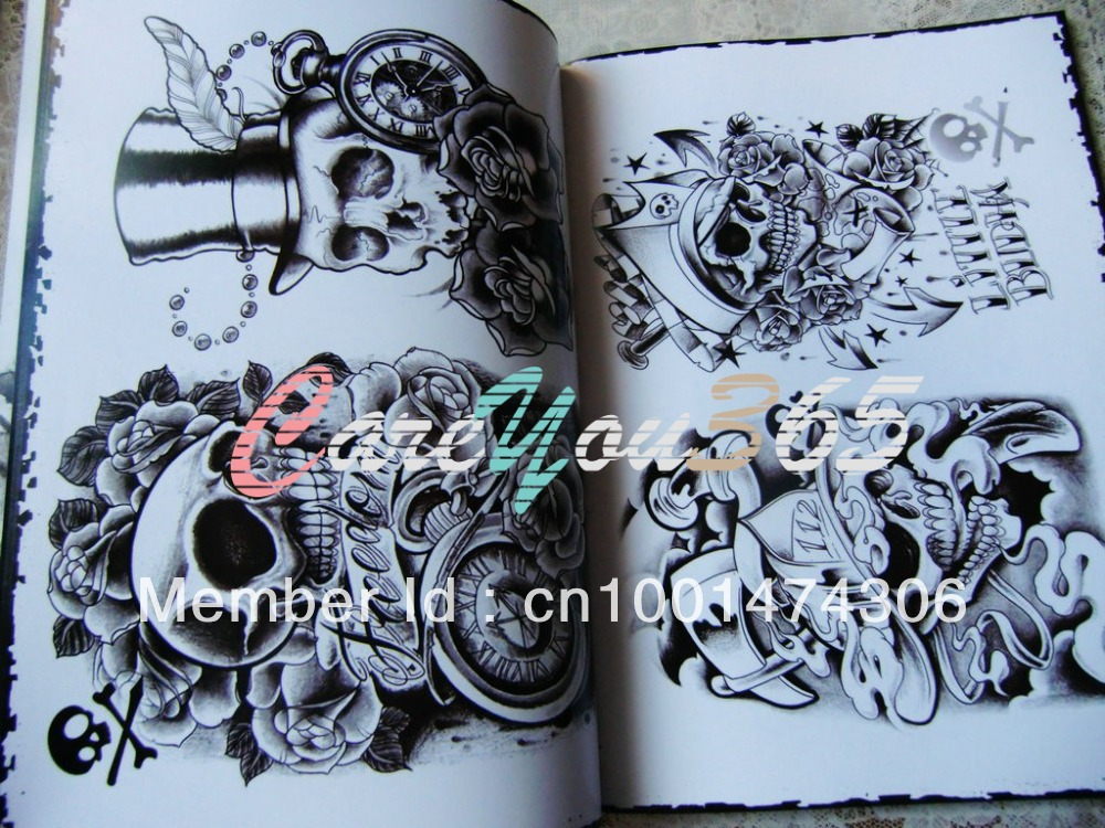 Skull tattoo flash reference book tatoo designs sketch for Tattoo reference books