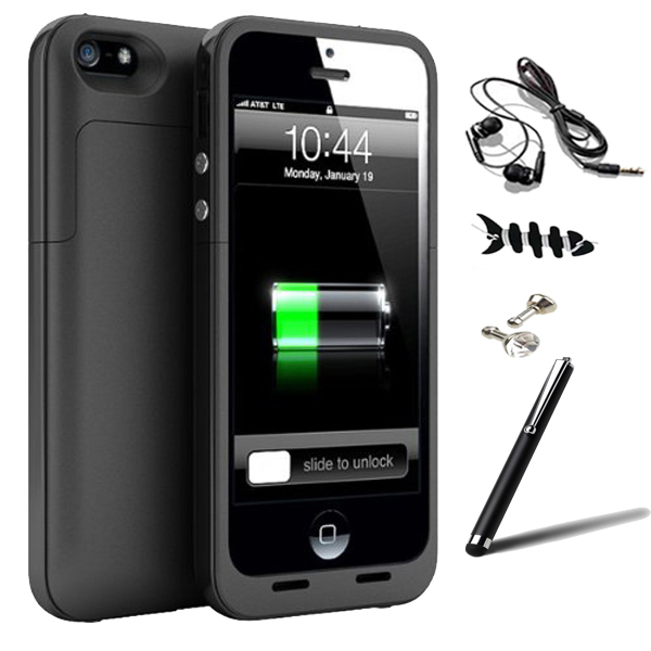 2500mAh Portable External Battery Charger Power Bank Case Cover Fundas for iPhone 5 5S w/ Stylus Pen Earphone Dust Plug(China (Mainland))