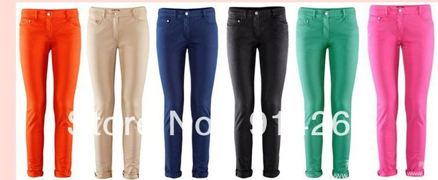 Classic Elegant Womens Candy Multicolor Slim Feet Pencil Pant Casual OL Trouser   free shipping