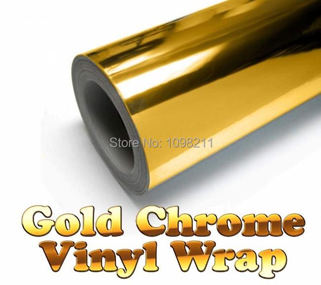 "300mm x 1520mm Golden Gold Chrome Air Free Mirror Vinyl Wrap Film Sticker Sheet Decal 12""x60"" Adhesive Emblem Car styling(China (Mainland))"
