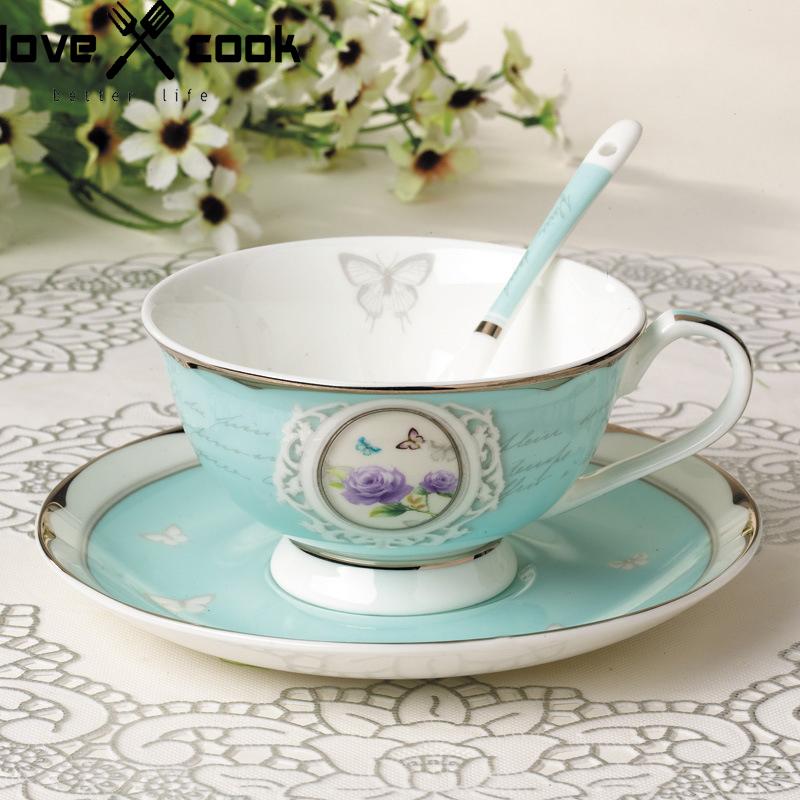Bone China Coffee Cup Set Saucer + Cup +Spoon Platinum Plated Afternoon Tea Cup Set European Style Coffee Tool Tea Set Drinkware(China (Mainland))