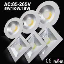 Super bright Round/Square COB Led down light 5W/10W/15W 220V/110V Recessed LED Ceiling light Spot Light Lamp White/ warm white(China (Mainland))