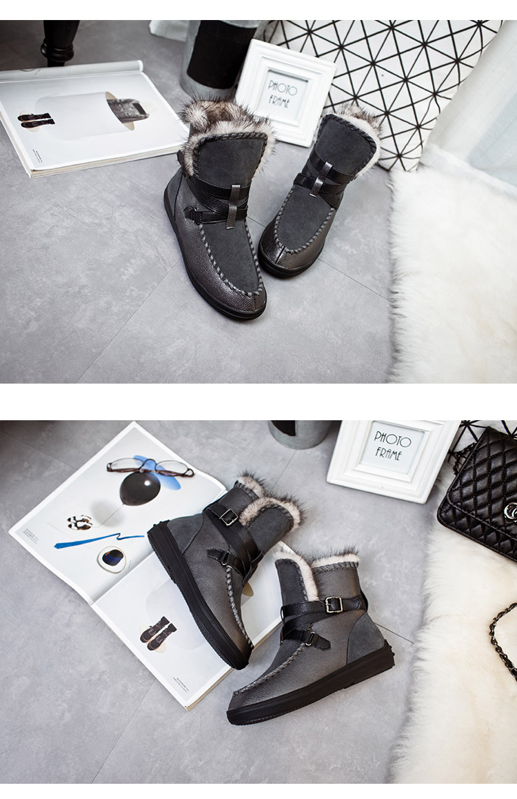 WoMen Winter Keep Warm Short Boots Flat Heel Buckle Snow Boots Thermal With Plush Thickening Cotton-Padded Shoes For Women