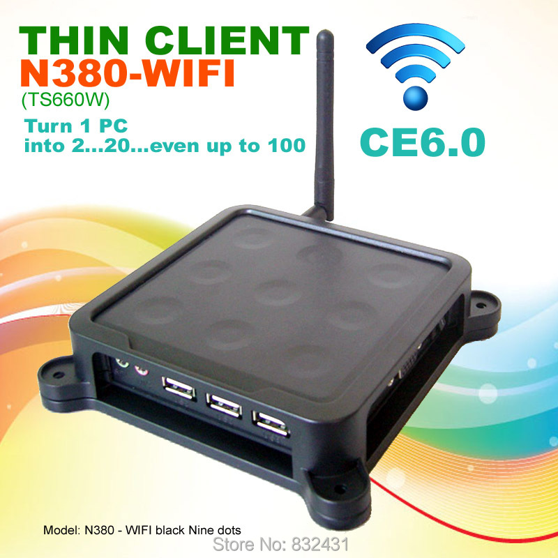 Thin Client 32 Bit N380W(TS660W) Black Nine Dots MINI PC CE6.0 Embedded System PC Station with USB Port Wifi Printer Supported(China (Mainland))