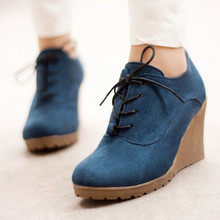 2015 New Wedges Women Boots Fashion Flock High-heeled Platform Ankle Boots Lace Up High Heels Spring Autumn Shoes For Women(China (Mainland))