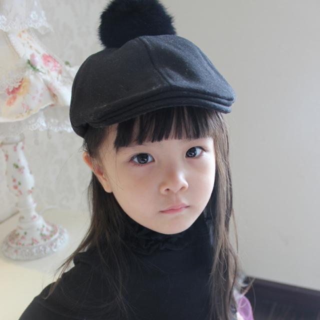 2015 новых твердых мода зима чувствовал ребенок шляпа симпатичные мужская малыш детские берет девушка шляпа для мальчиков крышки шляпа с кролик