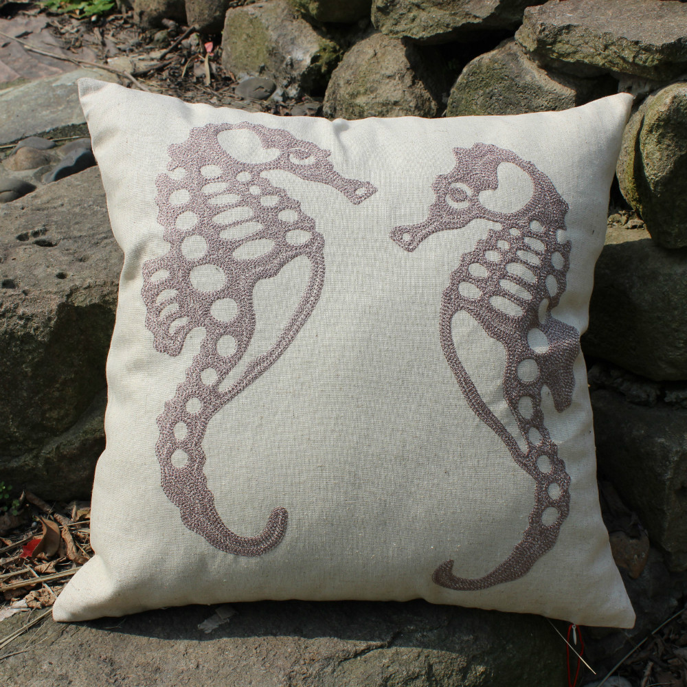 VEZO HOME embroidered sea horse linen sofa cushions cover home decorative throw pillows cover ...