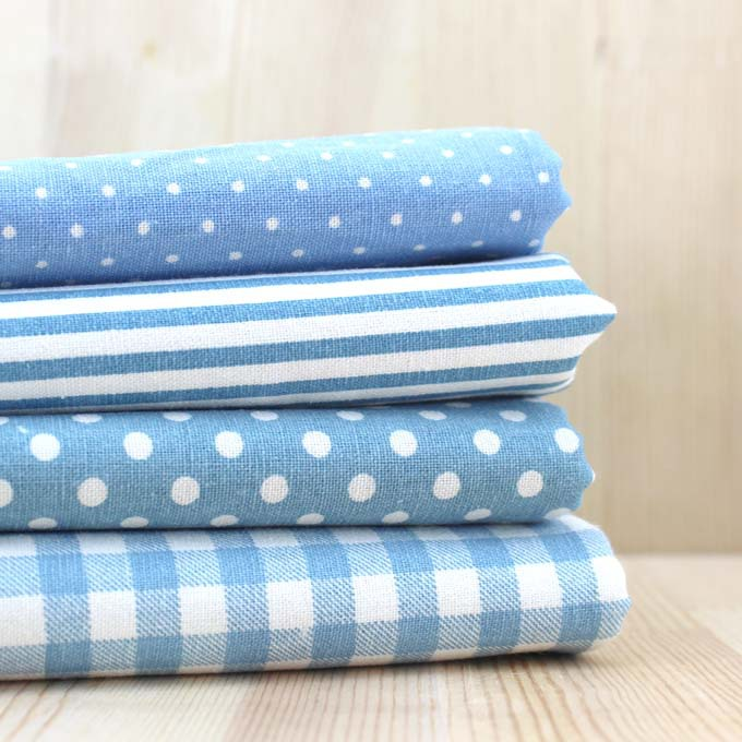 22*24cm 4PCs Blue Cotton and Linen Quilt Fabric for DIY Sewing Patchwork cloth Bags Stripe Dot Grid Print Cloth Textiles Fabric(China (Mainland))
