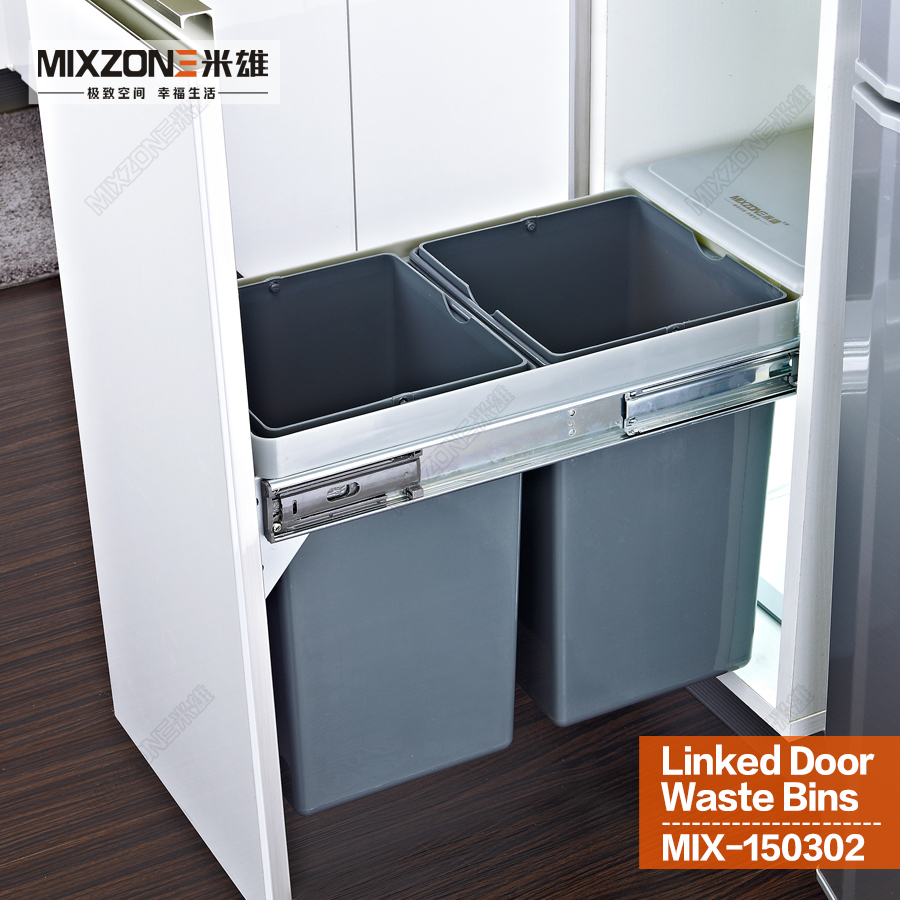 Twin pull out trash bin kitchen cabinet double dual slide for Bins for kitchen cabinets