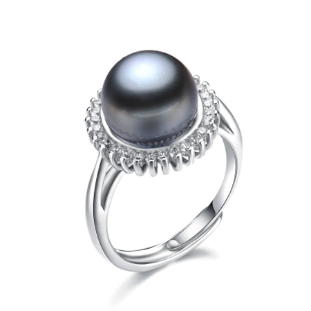 2015 new fashion 11-12mm big size black pearl ring for women high quality gold plated jewelry promottion adjustable ring(China (Mainland))