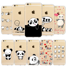 Buy Cute Cartoon Animal Panda Phone Case iPhone 7 7Plus SE 5 5S 6 6S Plus 4 4s Transparent Silicone Phone Back Cover Clear Coque for $1.34 in AliExpress store